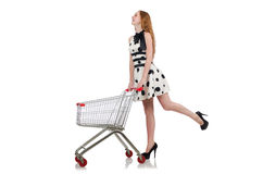 Woman after shopping in the supermarket isolated Royalty Free Stock Photo