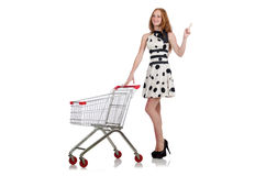 Woman after shopping in the supermarket isolated Stock Photo