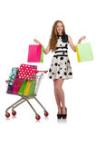 Woman after shopping in the supermarket isolated Royalty Free Stock Photography