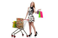 Woman after shopping in  supermarket isolated on Royalty Free Stock Photos