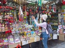 Woman Shopping in the Temple Asakusa Sensoji Stock Photos