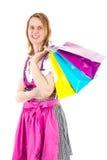 Woman on shopping tour. Alpine woman on shopping tour Royalty Free Stock Images