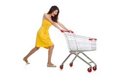 Woman with shopping trolley isolated Royalty Free Stock Images
