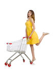 Woman with shopping trolley isolated Stock Photography