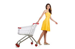 Woman with shopping trolley isolated Royalty Free Stock Image