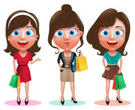Woman shopping vector characters set. Female happy holding shopping bags. Wearing fashion dress and hairstyles in white background. Vector illustration Stock Images