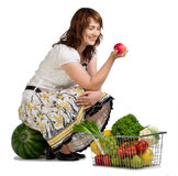 Woman shopping for vegetables stock photography