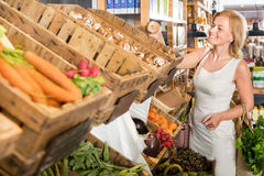 Woman shopping veggies Stock Image