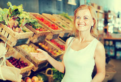 Woman shopping veggies Stock Images