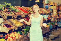 Woman shopping veggies Royalty Free Stock Images