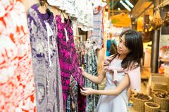 Woman shopping at weekend market Stock Images