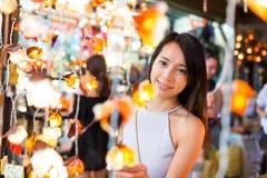 Woman shopping at weekend market in Bangkok Stock Images