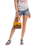 Woman in short blue shorts. Royalty Free Stock Photo