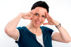 Woman with short dark hair is stressed Royalty Free Stock Photo