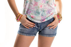 Woman in short denim shorts. Stock Images