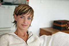 Woman with short hair. Woman with short blond hair Royalty Free Stock Image
