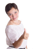 Woman with short haircut and thumb up Royalty Free Stock Photography