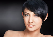 Woman with short hairstyle Stock Image