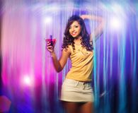 Woman in short skirt at the night club Royalty Free Stock Photo