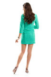 Woman in short turquoise dress. Royalty Free Stock Photo