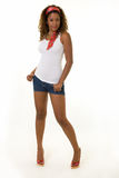 Woman in shorts royalty free stock photo