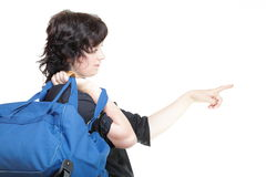 Woman and shoulder bag isolated Stock Images
