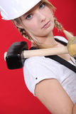 Woman with shoulder harness Stock Photography