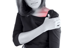 Woman with shoulder pain. Isolate on white background Royalty Free Stock Photos