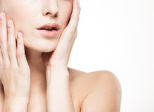 Woman shoulders lips hands fingers close-up portrait Royalty Free Stock Photos