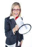 Woman shout in a megaphone. Beautifull woman shout in a megaphone Royalty Free Stock Photo