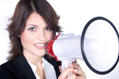Woman shout in a megaphone Stock Photography
