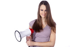 Woman shout in a megaphone. Beautifull woman shout in a megaphone Royalty Free Stock Image