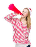 Woman shout with megaphone. Isolated over white background Stock Image
