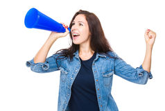 Woman shout with megaphone. Isolated on white Stock Photo