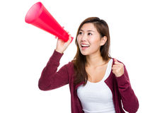 Woman shout with megaphone Royalty Free Stock Photography