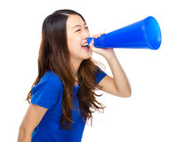 Woman shout with megaphone Royalty Free Stock Photo