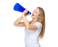 Woman shout with megaphone. Isolated on white background Stock Photos
