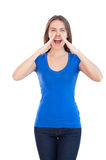 Woman shouting. Royalty Free Stock Photography