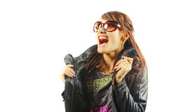 The woman shouting from delight. The girl shouting from delight on a white background royalty free stock photo
