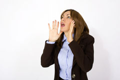 Woman shouting - facial expression Royalty Free Stock Image