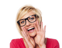 Woman shouting Stock Photo