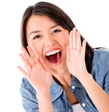 Woman shouting Royalty Free Stock Image