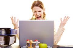 Woman shouting at her laptop stock photos