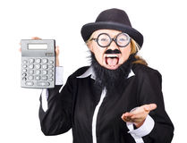 Woman shouting and holding calculator Stock Photography