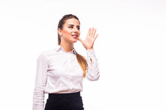 Woman Shouting - Isolated over a White Background Royalty Free Stock Photo