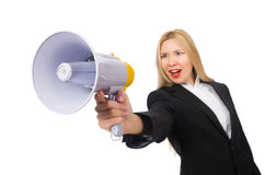 The woman shouting through loudspeaker isolated on Royalty Free Stock Photo
