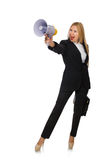 The woman shouting through loudspeaker isolated on Stock Photography