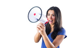 Woman shouting into a megaphone. Against a white background Stock Image
