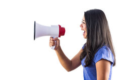 Woman shouting into a megaphone. Against a white background Stock Images