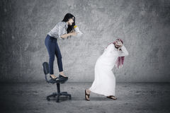 Woman shouting with megaphone Stock Photos